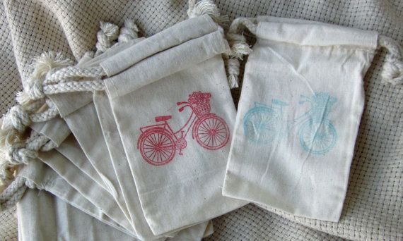 wedding favor baggies - I LOVE the vintage bicycle theme. I would get these made bigger an put a variety of vintage sun glasses inside! Definitely a First Pick Planning idea!