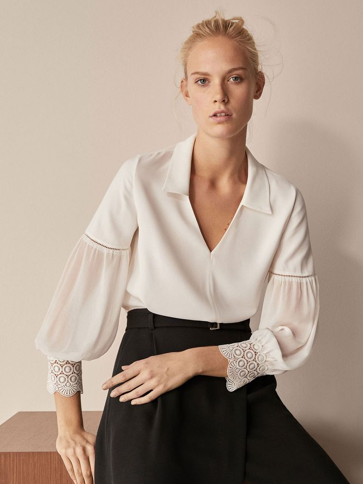 Fall Winter 2017 Women´s COLLARED BLOUSE WITH CROCHET DETAIL at Massimo Dutti for 95.5. Effortless elegance!