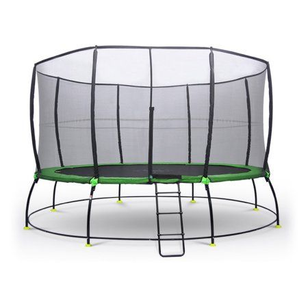 Outward Play 10-Foot Round Hyper Jump Plus Springless Trampoline with Safety Net Enclosure, Black