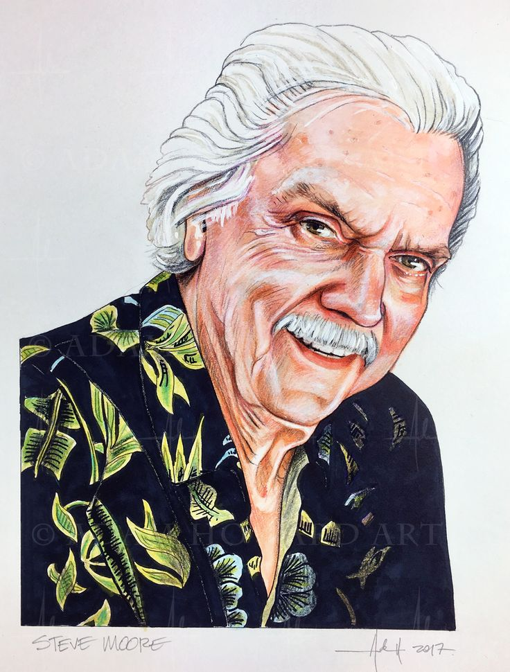 """STEVE R. MOORE  Brilliant friend and mentor. Visual Effects Editor, Artist, Supervisor. A damn fine film maker and a very fine man taken way too soon. Rest in peace mate.  Illustration © Adam Howard 2017 Medium is Color Pencil, Copic marker and acrylic paint on acid free Strathmore Drawing paper. Dimensions are 6"""" wide by 9"""" high  #adamhowardart #stevemoore #stevermoore #editor #filmeditor #vfxeditor #vfxsupervisor #visualeffects #titanic #willow, #ghostbusters2 #xmen #seabiscuit #herbie…"""