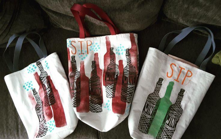 block-printed tote bags