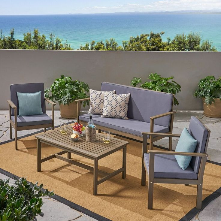 Beachcrest home lakeside 4 piece sofa seating group with