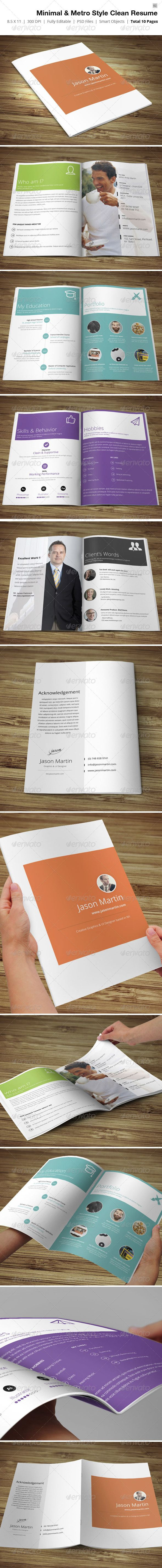 Minimal & Metro Style Resume  #freelancer #information #inspire • Click here to download ! http://graphicriver.net/item/minimal-metro-style-resume-/4311194?s_rank=129&ref=pxcr