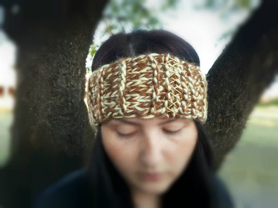 Ear and Brown captain   Accessories Wrist Knit lyte Beige asic   Handmade warmer gel Headband Brown Wrap  Ear warmer blue Ears Head Warmer Knitted