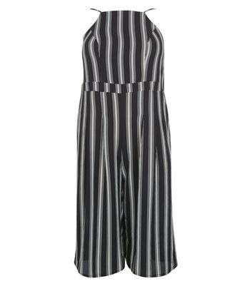 Combinaison jupe-culotte Curves noire à rayures