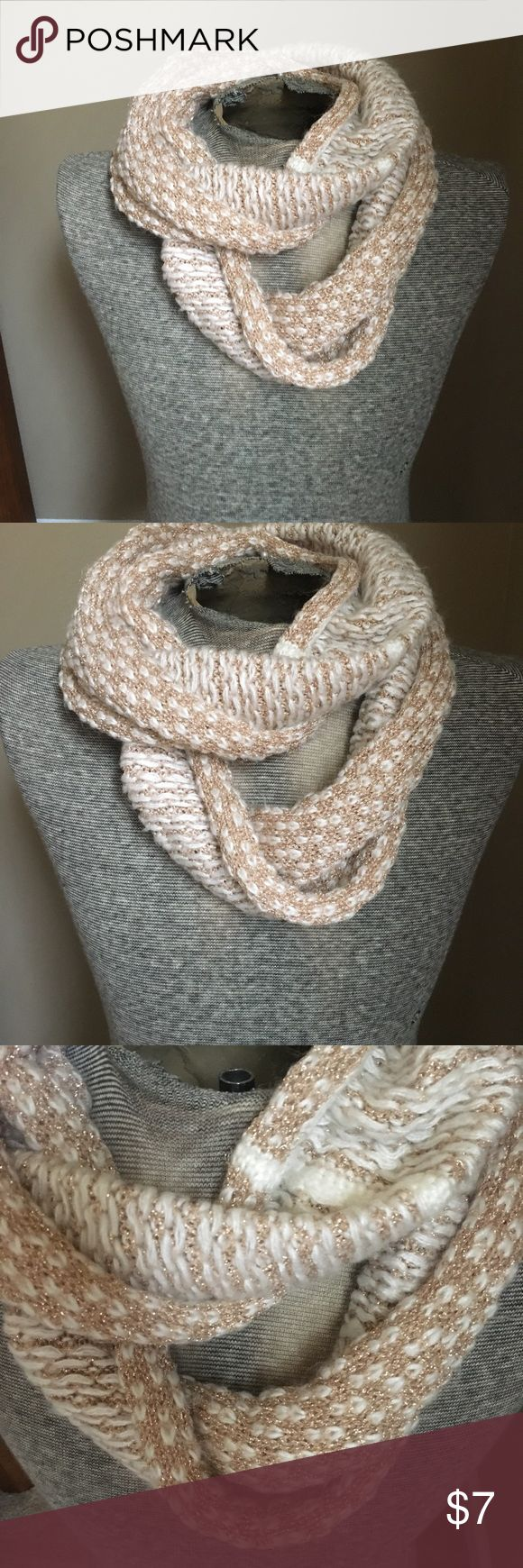 Off white and Gold Infinity Scarf Love this scarf! It has a few picks here and t…