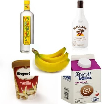 Banana Cream Pie:  1 oz. Malibu Rum, 1 oz. 99 Bananas Schnapps, 4 scoop(s) Vanilla Ice Cream, 2 oz. Half and Half Cream, 1/2 Banana.......... Throw all these ingredients into a blender and blend until smooth. Serve in a glass topped with whipped cream(opt). OMG sooooooo good! You can add more alcohol to make it stronger. There is really no way you could mess this up. Add more ice cream if you want or more bananas. Just awesome.