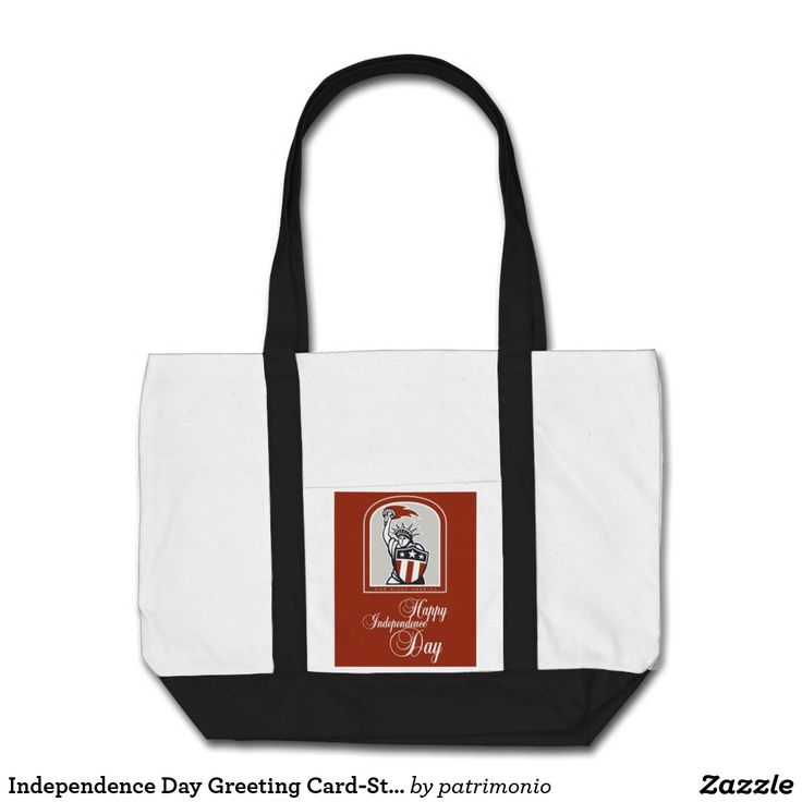 "Independence Day Greeting Card-Statue of Liberty W. Tote bag featuring an illustration of the Statue of Liberty holding a flaming torch and a stars and stripes shield set inside a crest done in retro style with the words ""Happy Independence Day."" #IndependenceDay #4thofJuly #totebag"