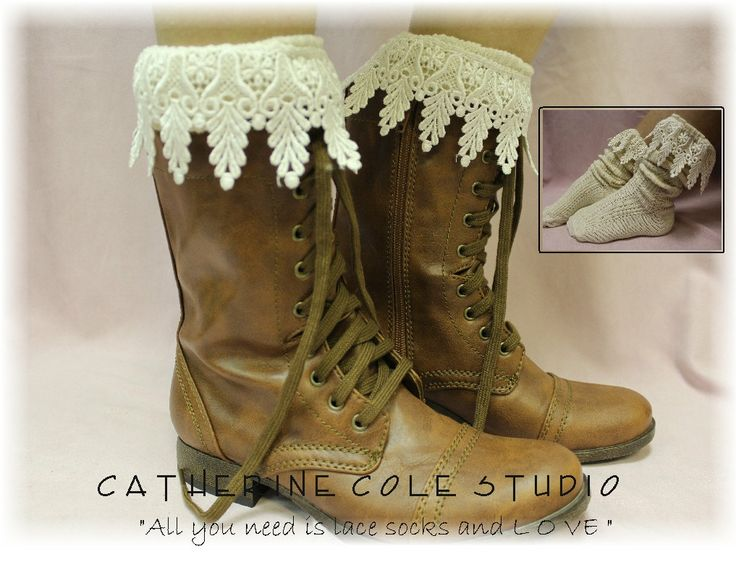 The Ultimate lace socks for your  combat, clogs or cowboy boots IVORY by Catherine Cole Studio slouch  socks MADE IN U S A (SLX2C2L). $18.50, via Etsy.