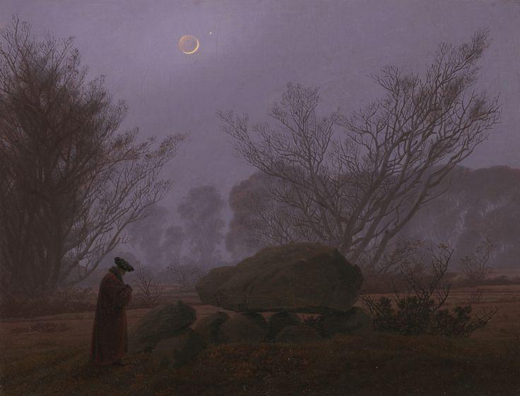 "Caspar David Friedrich, ""A Walk at Dusk,"" c. 1830-1835. A German Romantic painter, Friedrich paints a haunting, misty scene of a lone man walking past a megalithic tomb."