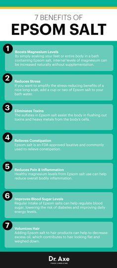 Epsom salt benefits - Dr. Axe http://www.draxe.com #health #holistic #natural #recipe