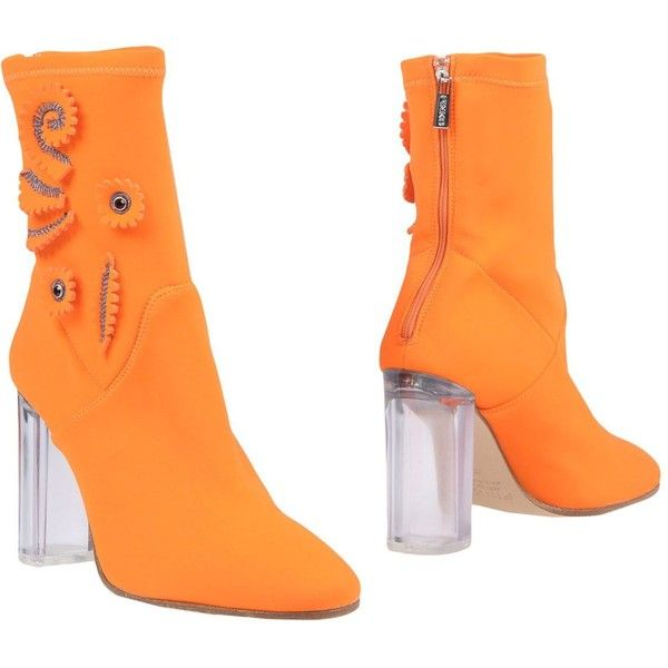 Pinko Ankle Boots (7 110 UAH) ❤ liked on Polyvore featuring shoes, boots, ankle booties, orange, short boots, zip ankle boots, bootie boots, round toe ankle booties and zip boots