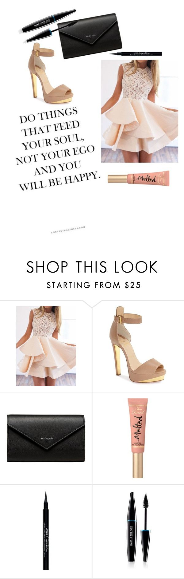 """""""Formal"""" by electraz on Polyvore featuring Christian Louboutin, Balenciaga, Too Faced Cosmetics, Givenchy and MAKE UP FOR EVER"""