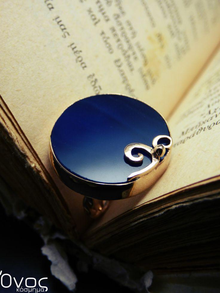 """"""" ΒLue Agate ring """" - Χειροποίητο επίχρυσο δαχτυλίδι με μπλέ Ορυκτή Φέτα Αχάτη!"""