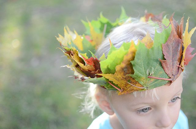 pyssel, höstpyssel, lövkrona, Pyssel för barn diy, autumn, crown of leaves, craft for children