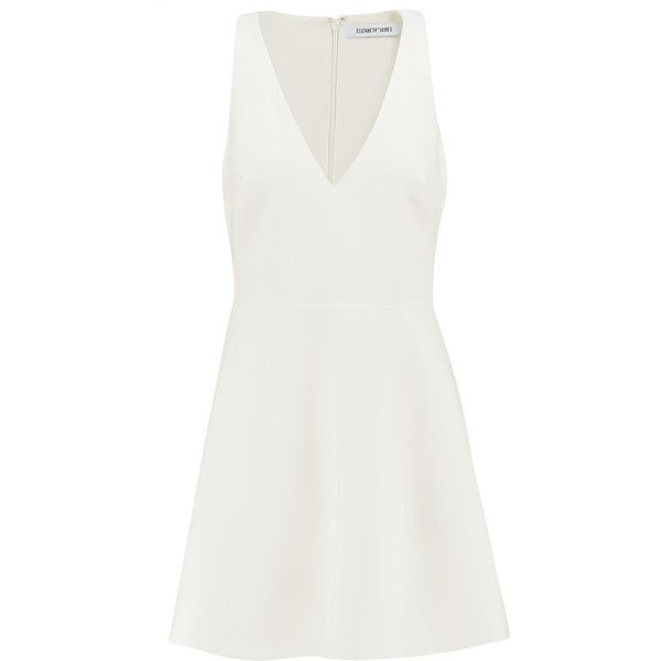 Elizabeth and James - Lalita Flared Twill Mini Dress ($164) ❤ liked on Polyvore featuring dresses, ivory, flared dress, fitted flared dress, short white dresses, boyfriend dress and white flare dress