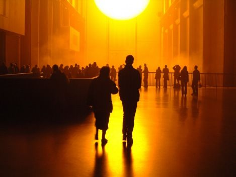Turbine Hall of the Tate Modern in London with the Weather Project of Olafur Eliasson.