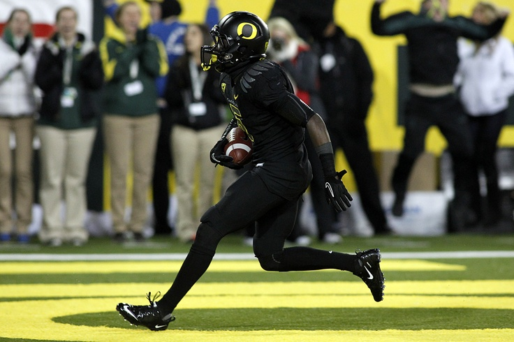Nov. 19 vs. USC: De'Anthony Thomas scores on a 96-yard kick return wearing what some people dubbed Oregon's 'Ninja' combination of all black from helmet to cleats.