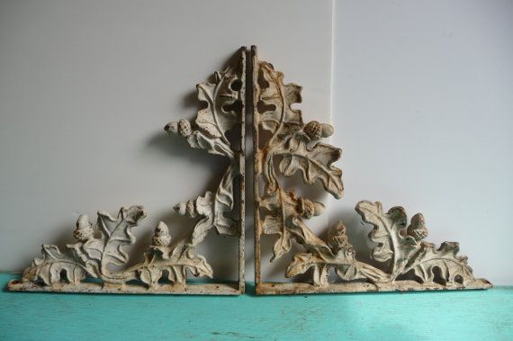 Two antique cast iron brackets acorn oak garden for The actor s art and craft