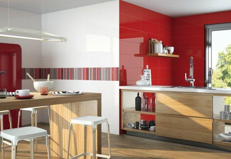 ... moderne-rouge-blanc-motifs-rayures-cuisine-bar-bois carrelage moderne