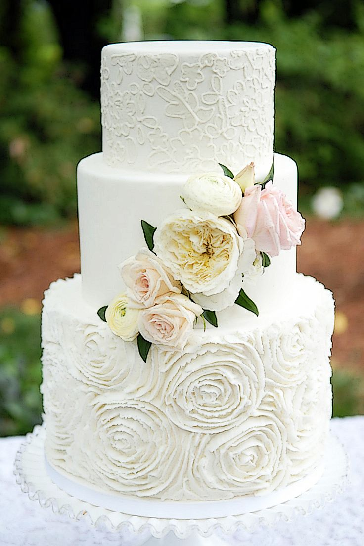 Buttercream Rose Wedding Cake by the Celestial Cakery at