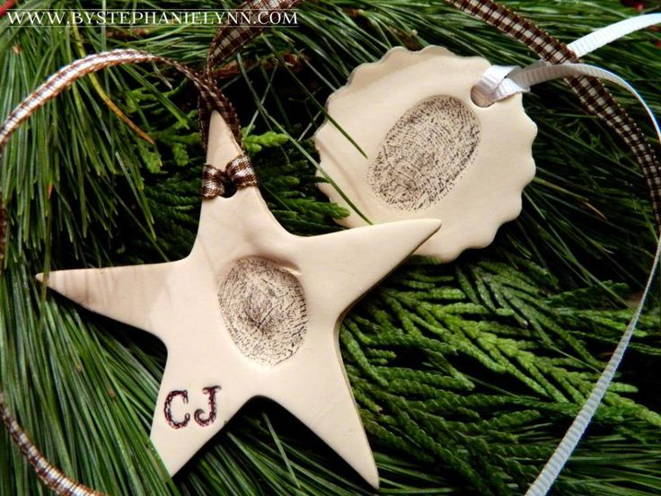What a sweet and sentimental keepsake ornament.  I try and come up with a memorable handmade every year for my kids and this is just perfect.  I love how Stephanie accentuated the clay thumbprint to stand out.  What a wonderful way to capture those tiny little fingers. I'm Stephanie Lynn from Under the Table and {...Read More...}