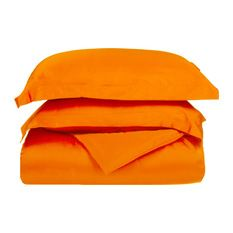 Microfiber 1500 Full Queen Solid Duvet Cover Set, Orange - Duvet Covers And Duvet Sets