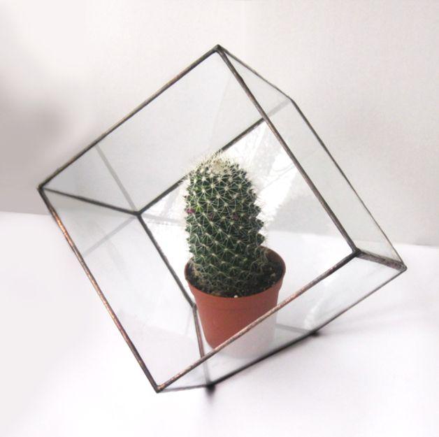 Glas Terrarium in Würfelform, moderne Dekoration / modern home decor, terrarium made of glass made by Modern decor via DaWanda.com