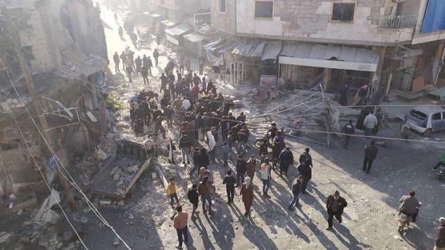 تلفزيون سوريا ارتكبت طائرات النظام الحربية مجزرة في مدينة سراقب