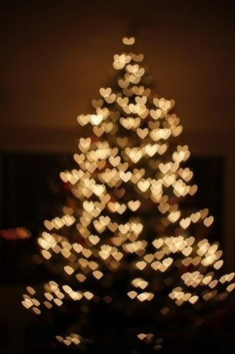 Christmas tree with heart shaped lights