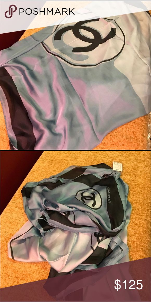 """Chanel print silk scarf 100% silk @70""""x30"""". You tube scarf folding ... halter top vest darling shawl neck coat hand bag .  No brand listed as Chanel for exposure CHANEL Accessories Scarves & Wraps"""