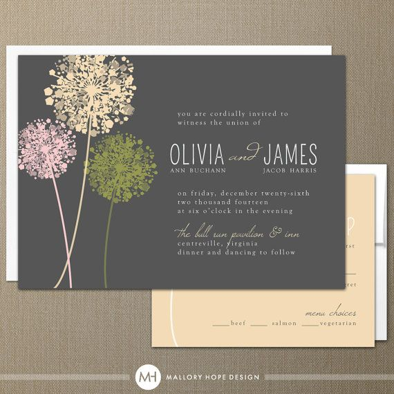 Dandelion Modern Wedding Invitation & RSVP - by ©MalloryHopeDesign