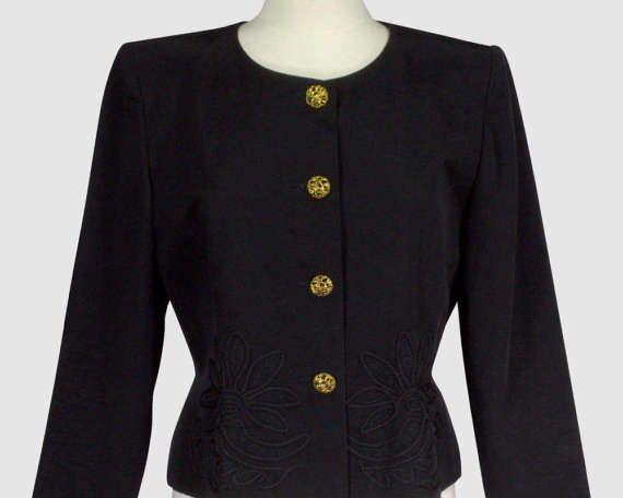 Emmanuelle Khanh Paris Vintage 1980s Cropped Blazer Jacket