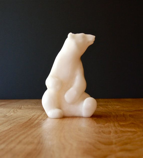 Vintage Carved Alabaster Polar Bear