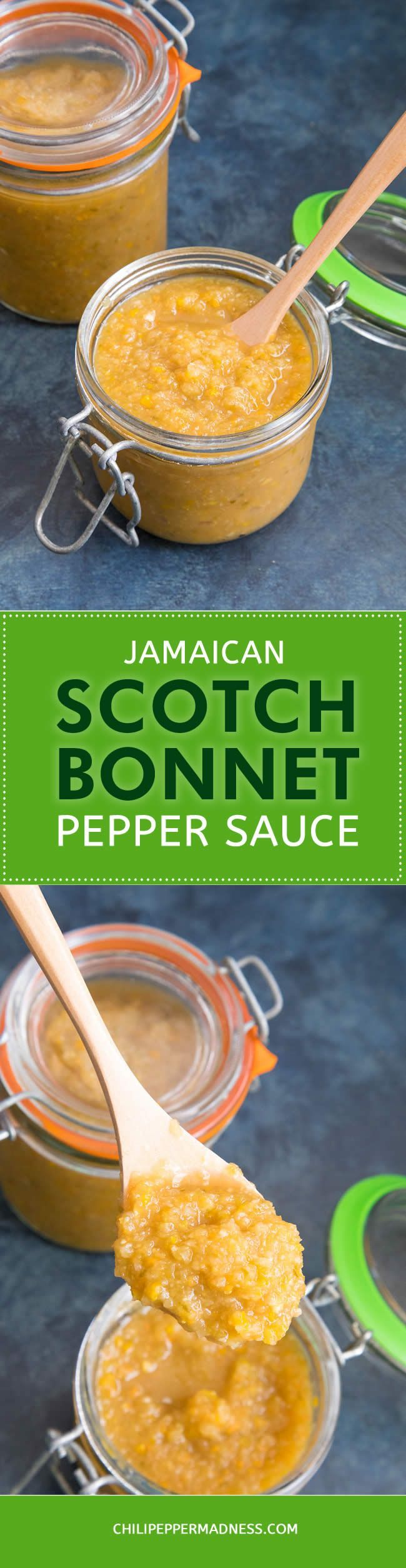 Jamaican Scotch Bonnet Pepper Sauce - Get this recipe for spicy pepper sauce made with fiery Scotch Bonnet peppers and a mix of Jamaican seasonings. Great for chicken and seafood.  #recipe #recipeoftheday #recipesharing #recipeideas #PepperSauce #HotSauce #Jamaican #spicy #spicyfood