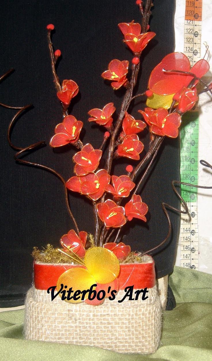 Flores em E.V.A. / PET / Meias de Seda: Flores em Meia - Diversas