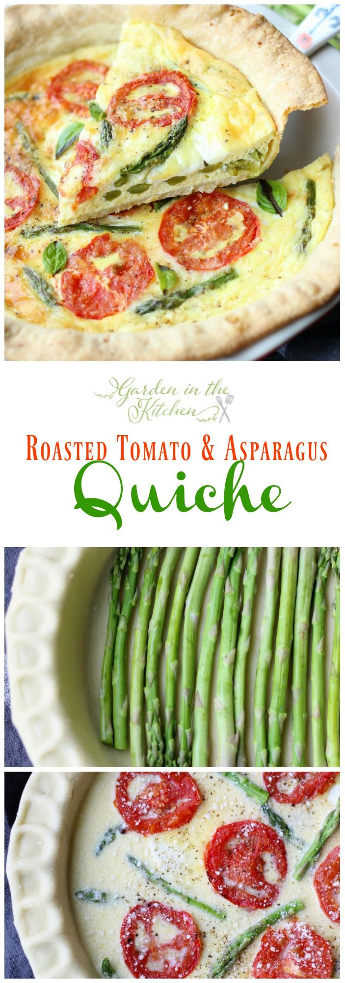 This savory roasted tomato and asparagus quiche has the best flavors of summer. A simple and easy dish you can make for breakfast, lunch or dinner! gardeninthekitchen.com