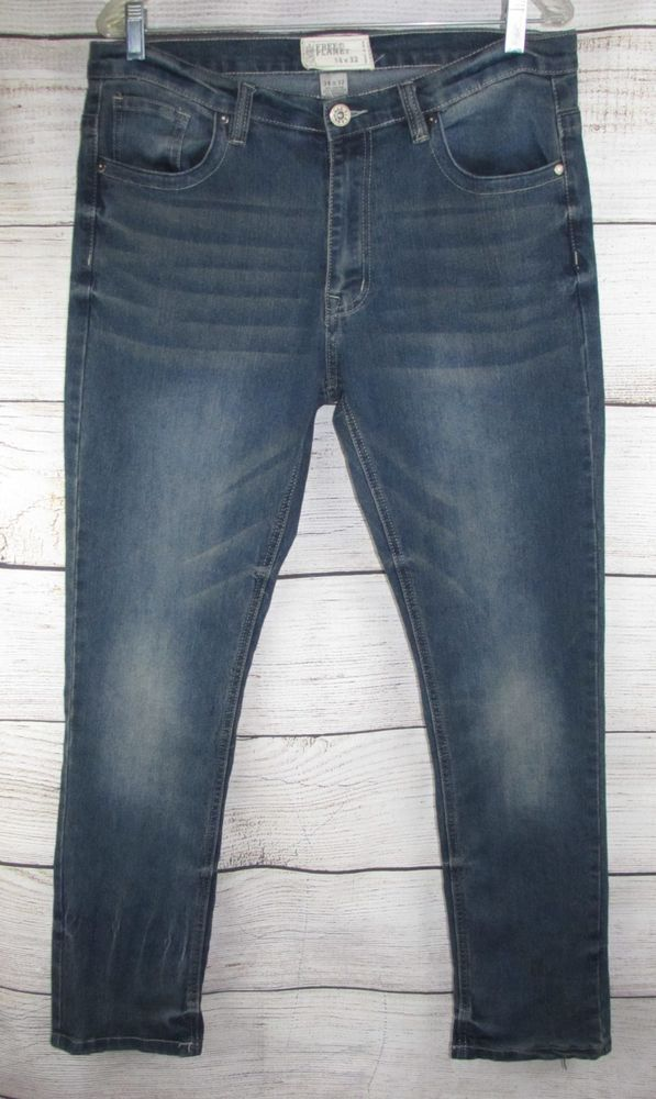 9a3cde01154ed FREE PLANET mens Jeans 34 32 actual 36x33 Stretch Skinny  FreePlant  Skater