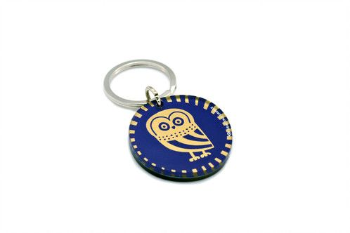 Owl | two sided plexiglass keychain | screenprinted & lazer cutted | designed and made in Greece