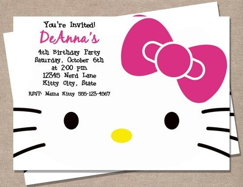 Hello Kitty Birthday Invitation - $5 for the custom file to print at home or at a photo printer
