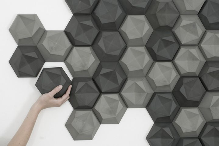 "edgy room shaping tiles by Patrycja Domanska - ""edgy"" is a three-dimensional tile. The aim was to provide an alternative to the flat, two dimensional walls in bathrooms and other living quarters . The form is made up of asymmetrical surfaces, ""folding"" onto one plane, to form a hexagonal base."