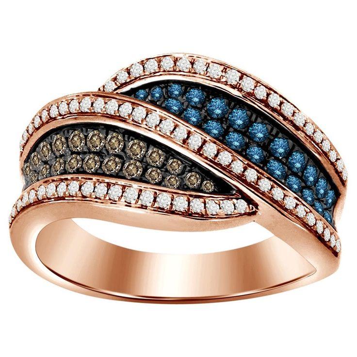 10k Rose Gold 3/4ct TDW Chocolate and Blue Diamond Ring