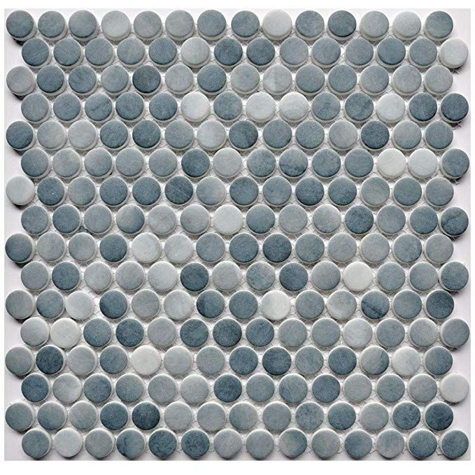 Glass Penny Round Mosaic Tiles With Mesh Backing Blue And Grey