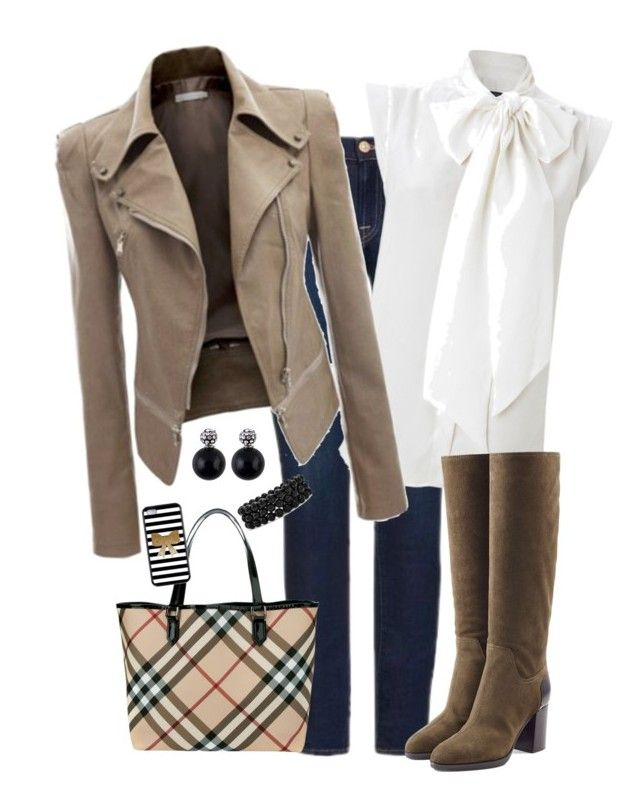 Jacket by pauirjules on Polyvore featuring polyvore, fashion, style, French Connection, 7 For All Mankind, Sergio Rossi, Burberry, Bling Jewelry and clothing