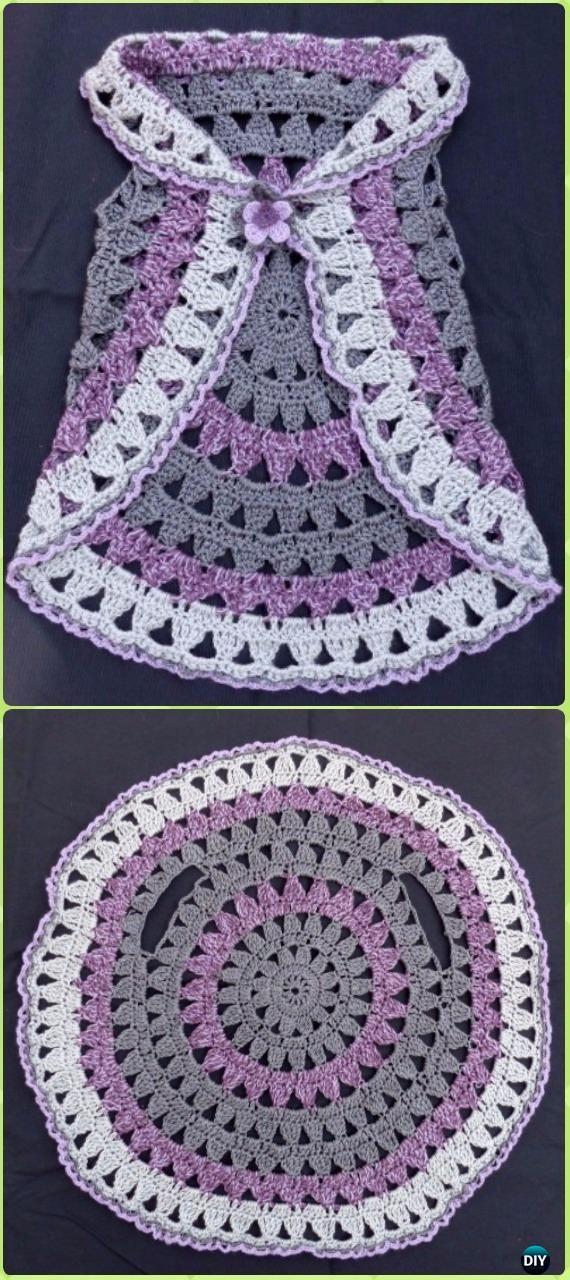 Crochet Little Girl Circle Vest Sweater Coat Free Patterns