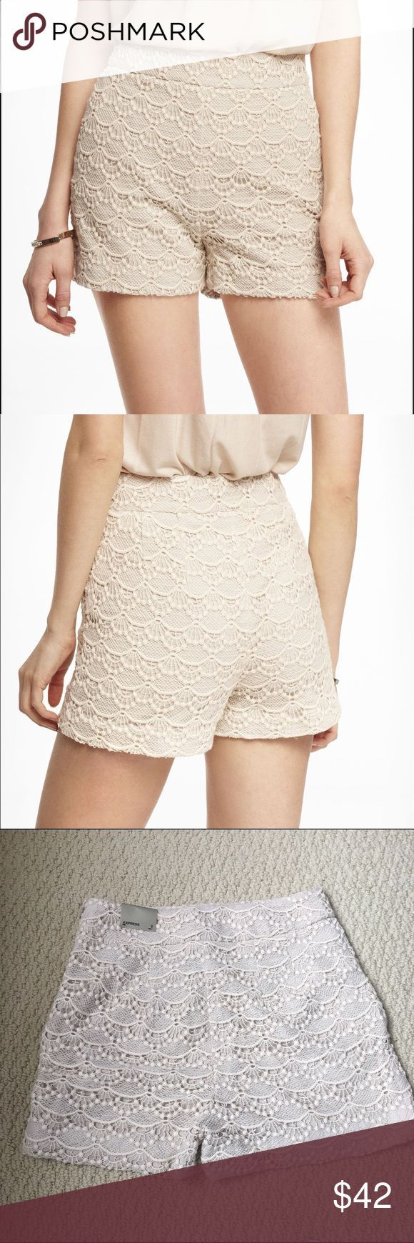 Express Ivory high waisted crochet lace shorts New with tags express crochet lax…