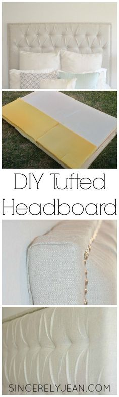 DIY Tufted Headboard - Learn how to make your own tufted headboard and save yourself a ton of money!   http://www.sincerelyjean.com