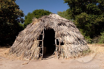 Chumash Indian Tule Hut at Mission La Purisima, Lompoc CA. Superstock