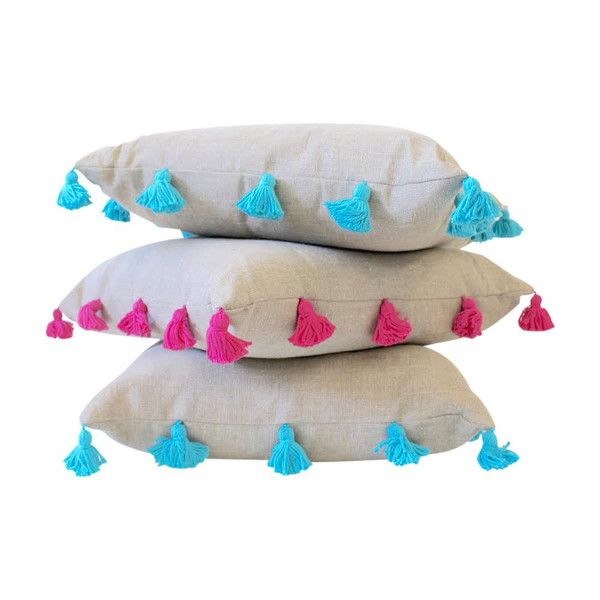 Square Beige And Turquoise Tassel Pillow Pillows