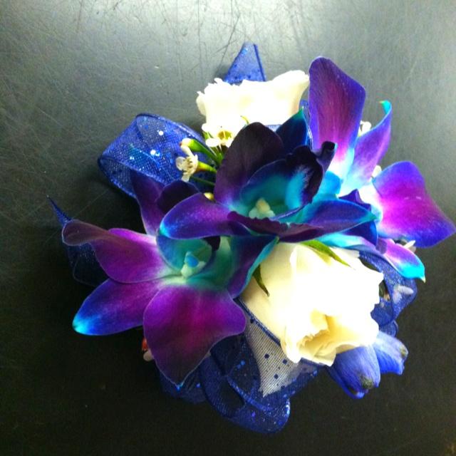 Blue Bom orchid corsage